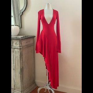 Majorelle asymmetrical red statement dress